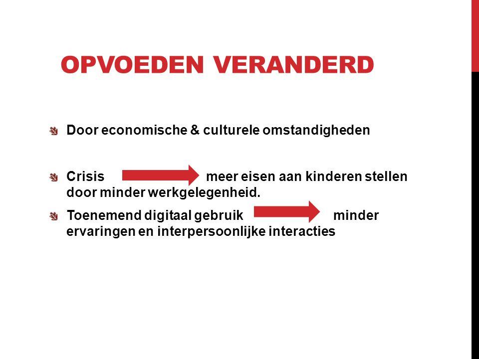 OPVOEDEN VERANDERD Door economische & culturele omstandigheden Crisis meer eisen aan kinderen stellen door minder werkgelegenheid.