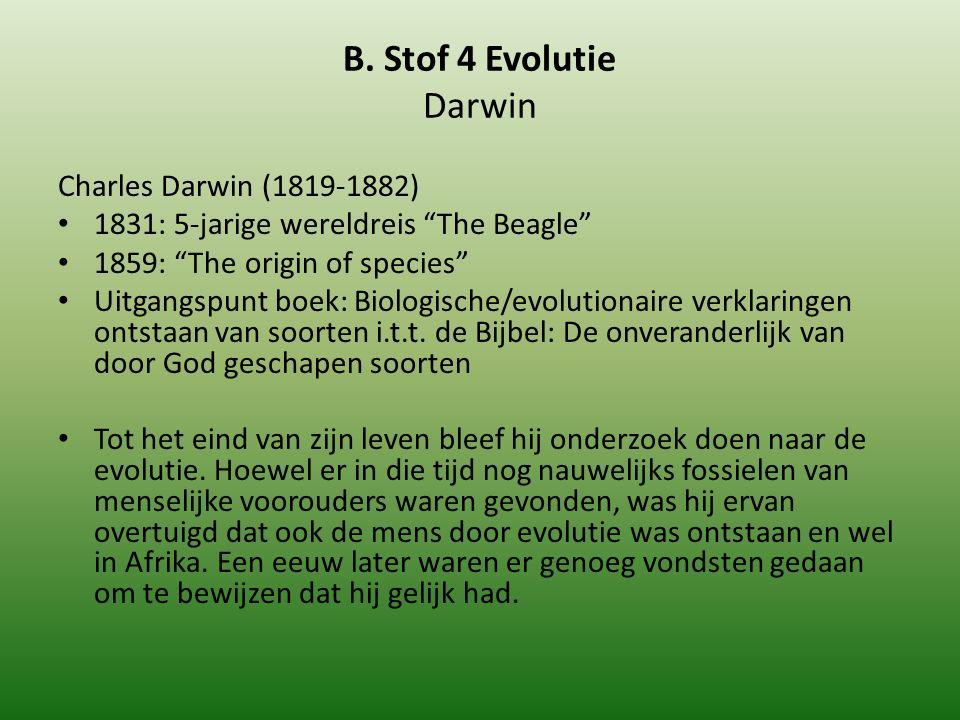 """B. Stof 4 Evolutie Darwin Charles Darwin (1819-1882) 1831: 5-jarige wereldreis """"The Beagle"""" 1859: """"The origin of species"""" Uitgangspunt boek: Biologisc"""