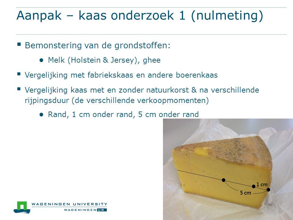 Aanpak – kaas onderzoek 1 (nulmeting)  Bemonstering van de grondstoffen: ● Melk (Holstein & Jersey), ghee  Vergelijking met fabriekskaas en andere b