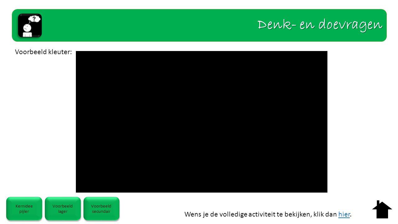 Kernidee pijler Kernidee pijler Voorbeeld lager Voorbeeld lager Voorbeeld secundair Voorbeeld secundair Voorbeeld kleuter: Denk- en doevragen Wens je