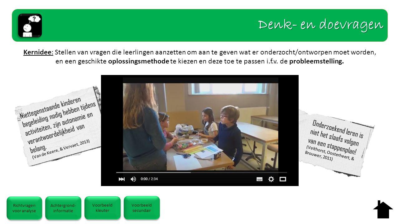 Kernidee: Stellen van vragen die leerlingen aanzetten om aan te geven wat er onderzocht/ontworpen moet worden, en een geschikte oplossingsmethode te k