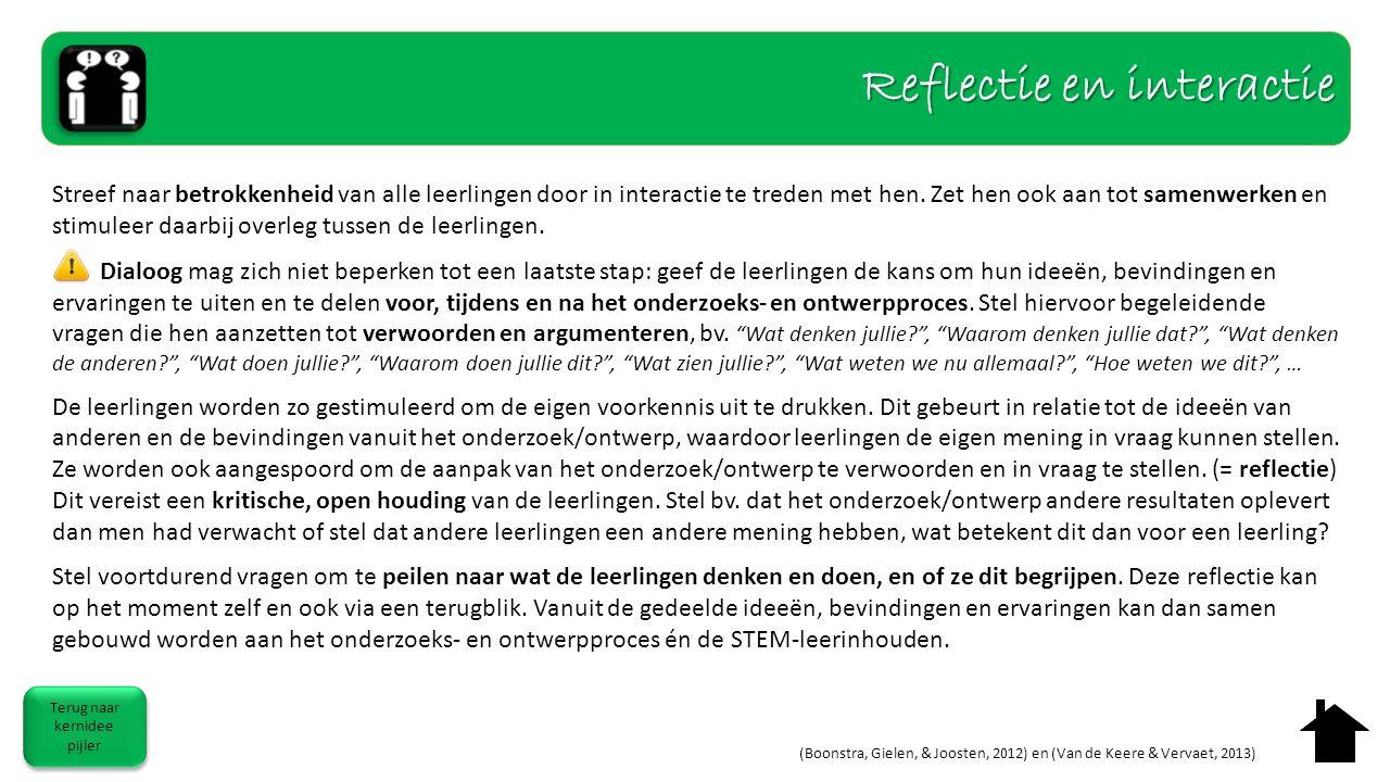 Reflectie en interactie Terug naar kernidee pijler Terug naar kernidee pijler (Boonstra, Gielen, & Joosten, 2012) en (Van de Keere & Vervaet, 2013) St