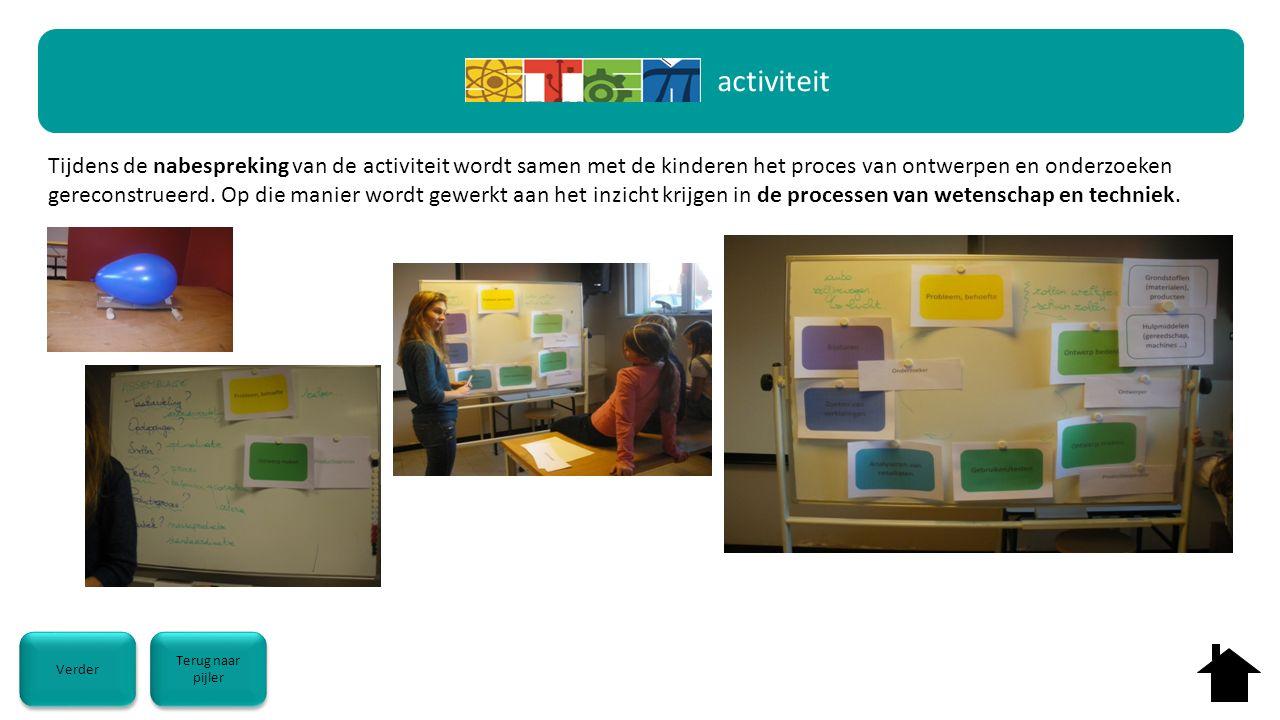 activiteit Tijdens de nabespreking van de activiteit wordt samen met de kinderen het proces van ontwerpen en onderzoeken gereconstrueerd. Op die manie