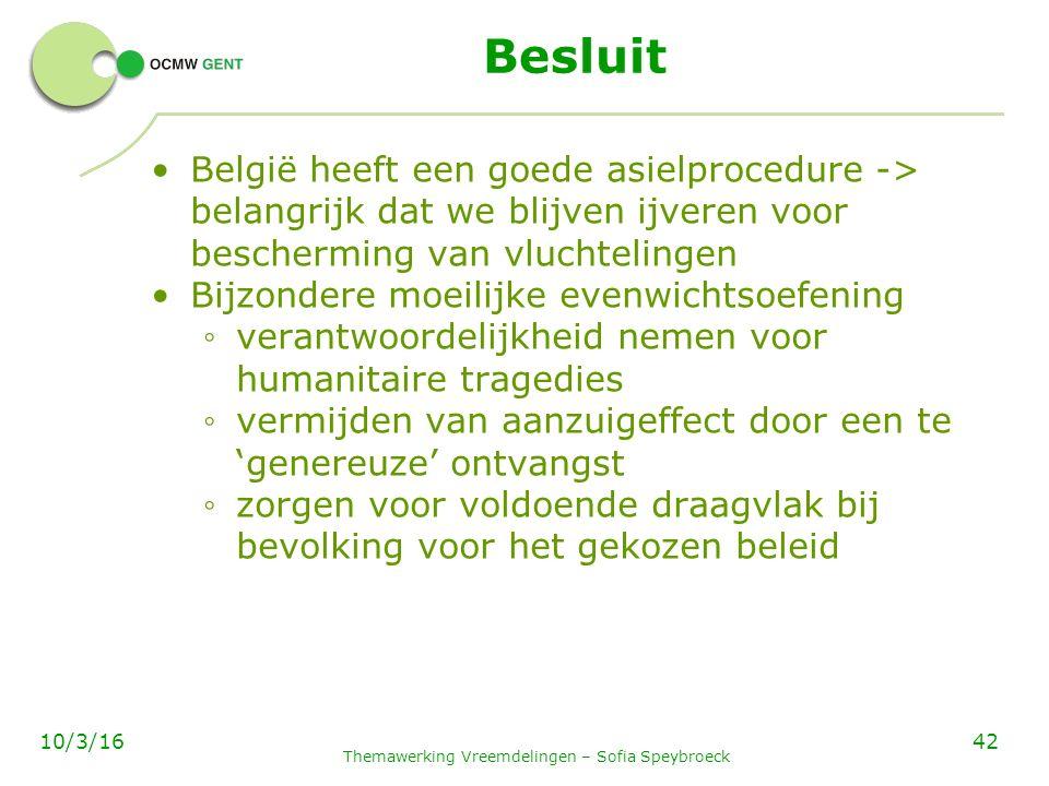 Besluit België heeft een goede asielprocedure -> belangrijk dat we blijven ijveren voor bescherming van vluchtelingen Bijzondere moeilijke evenwichtsoefening ◦ verantwoordelijkheid nemen voor humanitaire tragedies ◦ vermijden van aanzuigeffect door een te 'genereuze' ontvangst ◦ zorgen voor voldoende draagvlak bij bevolking voor het gekozen beleid Themawerking Vreemdelingen – Sofia Speybroeck 4210/3/16