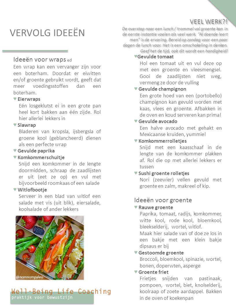 VERVOLG IDEEËN Ideeën voor wraps ed Een wrap kan een vervanger zijn voor een boterham.