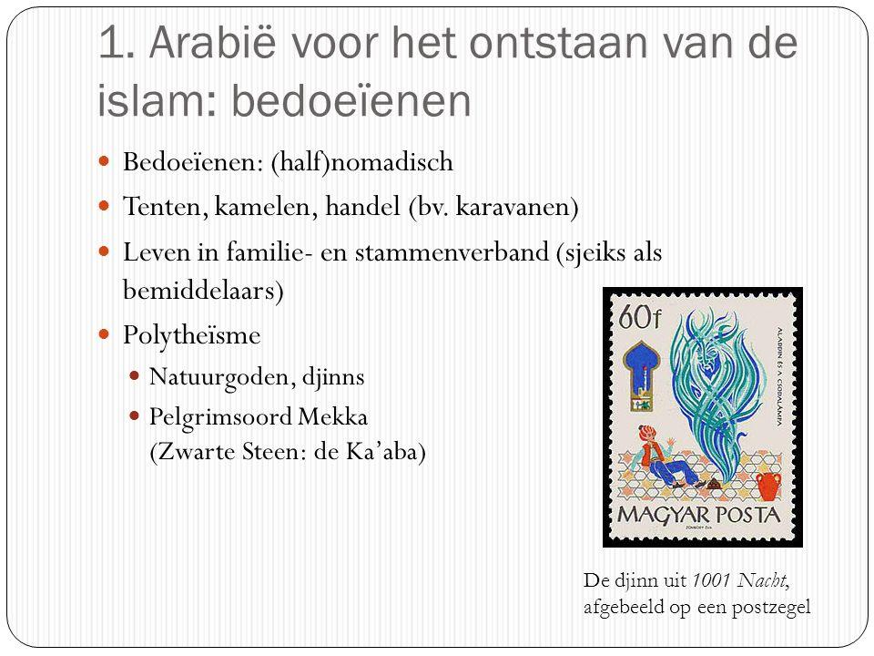 1. Arabië voor het ontstaan van de islam: bedoeïenen Bedoeïenen: (half)nomadisch Tenten, kamelen, handel (bv. karavanen) Leven in familie- en stammenv