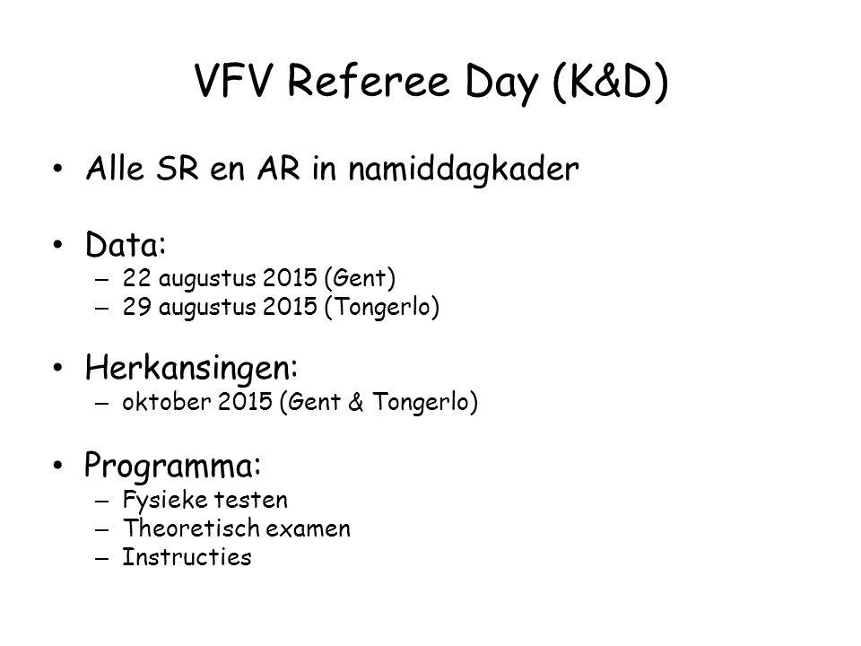 VFV Referee Day (K&D) Alle SR en AR in namiddagkader Data: – 22 augustus 2015 (Gent) – 29 augustus 2015 (Tongerlo) Herkansingen: – oktober 2015 (Gent & Tongerlo) Programma: – Fysieke testen – Theoretisch examen – Instructies