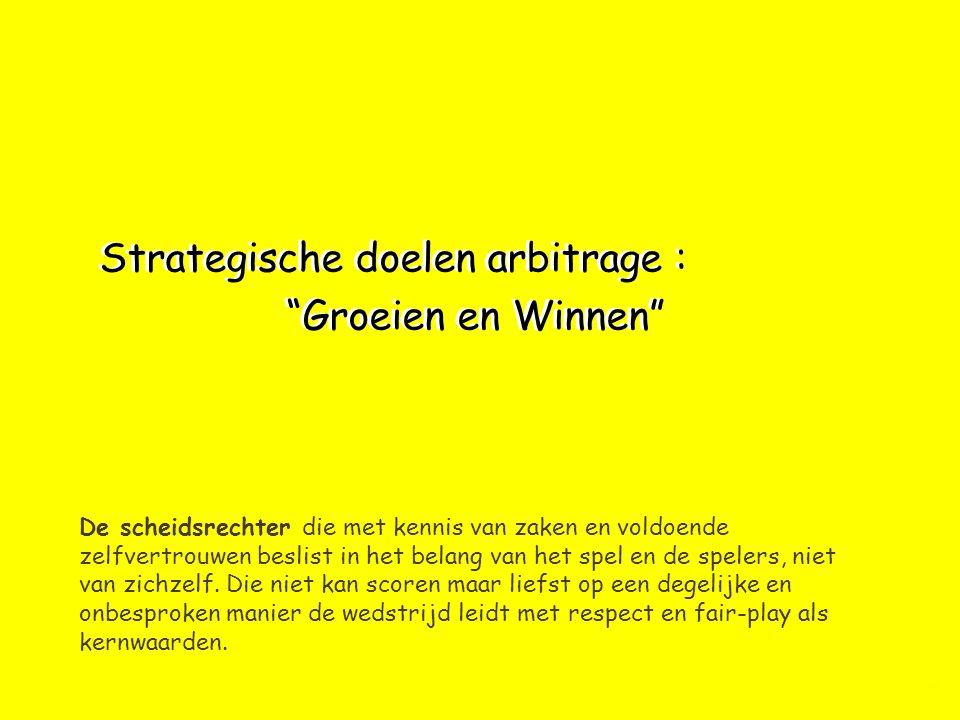 Strategische doelen arbitrage : Groeien en Winnen De scheidsrechter die met kennis van zaken en voldoende zelfvertrouwen beslist in het belang van het spel en de spelers, niet van zichzelf.