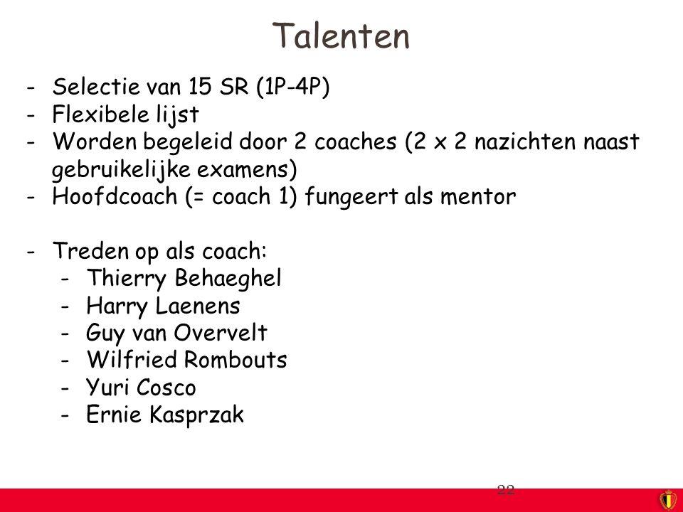 -Selectie van 15 SR (1P-4P) -Flexibele lijst -Worden begeleid door 2 coaches (2 x 2 nazichten naast gebruikelijke examens) -Hoofdcoach (= coach 1) fungeert als mentor -Treden op als coach: -Thierry Behaeghel -Harry Laenens -Guy van Overvelt -Wilfried Rombouts -Yuri Cosco -Ernie Kasprzak 22 Talenten