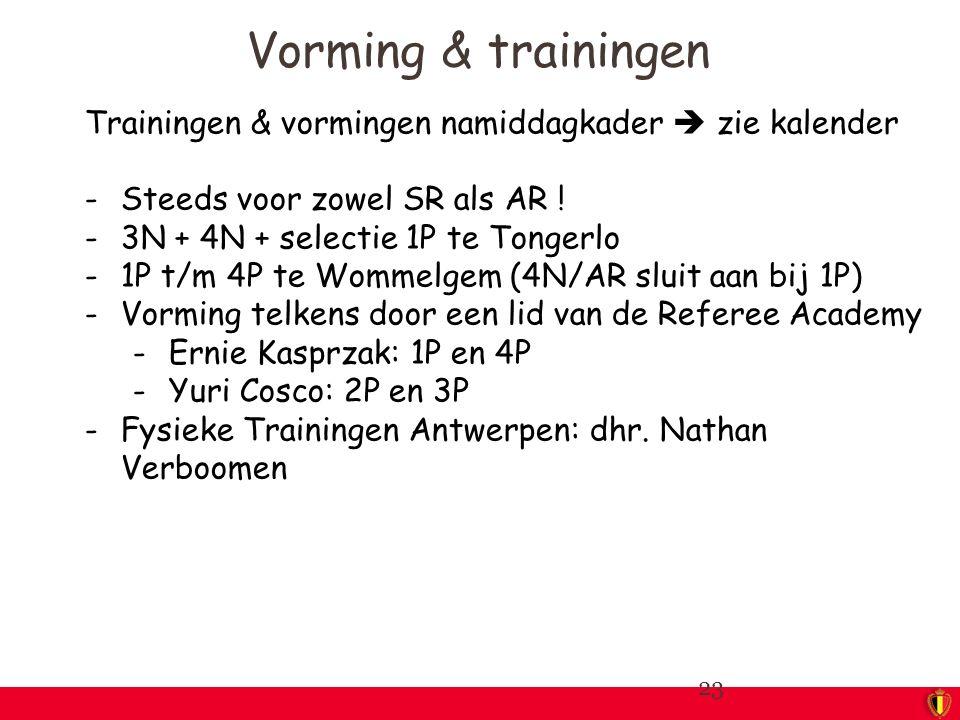 Trainingen & vormingen namiddagkader  zie kalender -Steeds voor zowel SR als AR ! -3N + 4N + selectie 1P te Tongerlo -1P t/m 4P te Wommelgem (4N/AR s