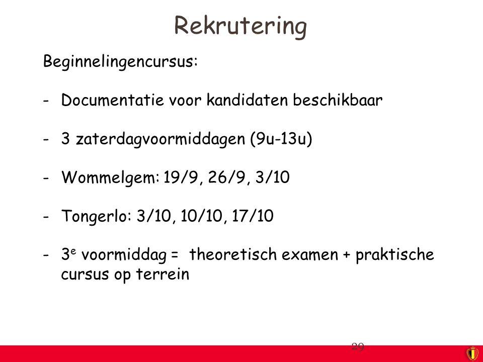 Beginnelingencursus: -Documentatie voor kandidaten beschikbaar -3 zaterdagvoormiddagen (9u-13u) -Wommelgem: 19/9, 26/9, 3/10 -Tongerlo: 3/10, 10/10, 17/10 -3 e voormiddag = theoretisch examen + praktische cursus op terrein 29 Rekrutering