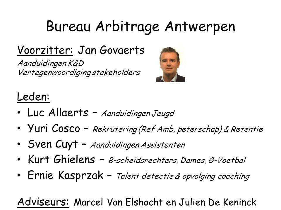 Bureau Arbitrage Antwerpen Voorzitter: Jan Govaerts Aanduidingen K&D Vertegenwoordiging stakeholders Leden: Luc Allaerts – Aanduidingen Jeugd Yuri Cos