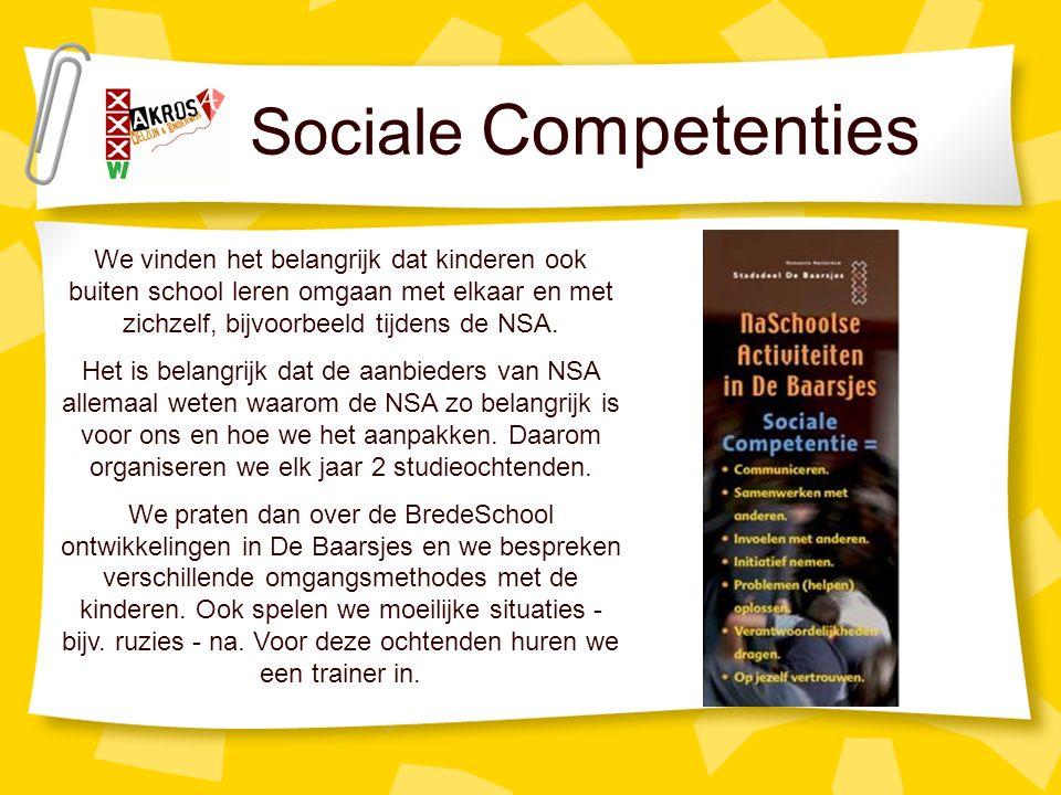 Sociale Competenties We vinden het belangrijk dat kinderen ook buiten school leren omgaan met elkaar en met zichzelf, bijvoorbeeld tijdens de NSA.