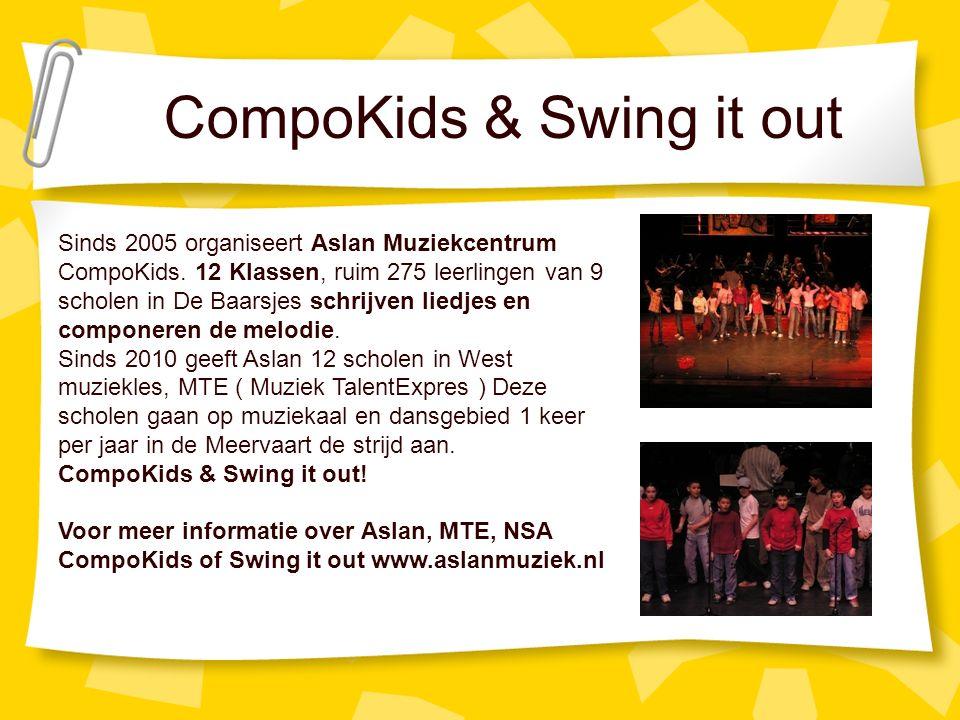 CompoKids & Swing it out Sinds 2005 organiseert Aslan Muziekcentrum CompoKids.