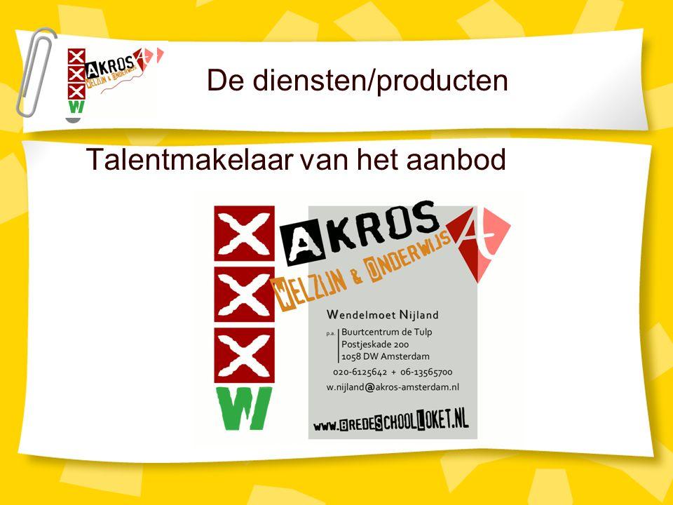 De diensten/producten Talentmakelaar van het aanbod
