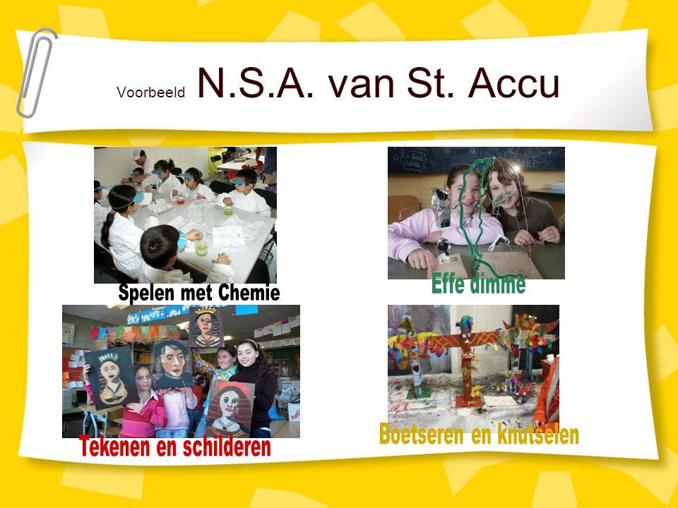 NSA uitgevoerd door ouders Op 4 basisscholen geven ouders NSA aan de kinderen.