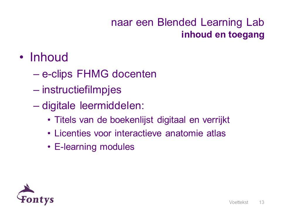 Inhoud –e-clips FHMG docenten –instructiefilmpjes –digitale leermiddelen: Titels van de boekenlijst digitaal en verrijkt Licenties voor interactieve a