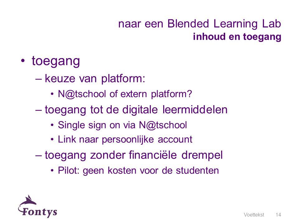 toegang –keuze van platform: N@tschool of extern platform? –toegang tot de digitale leermiddelen Single sign on via N@tschool Link naar persoonlijke a