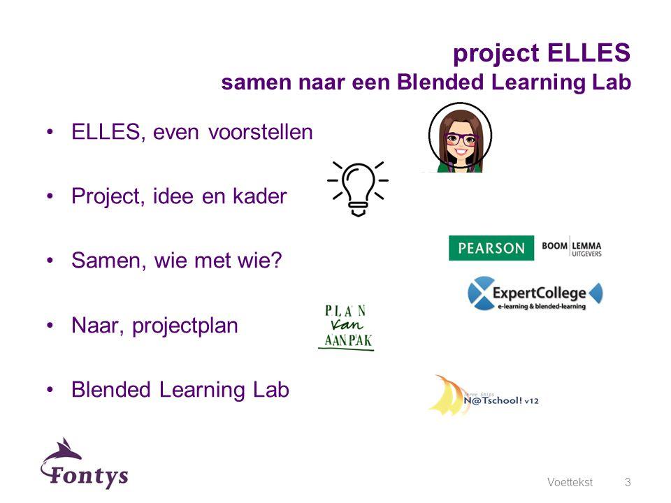 ELLES, even voorstellen Project, idee en kader Samen, wie met wie? Naar, projectplan Blended Learning Lab Voettekst3 project ELLES samen naar een Blen
