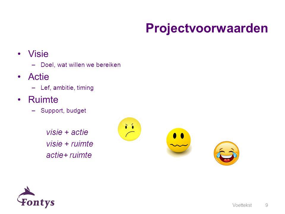 Visie –Doel, wat willen we bereiken Actie –Lef, ambitie, timing Ruimte –Support, budget visie + actie visie + ruimte actie+ ruimte Voettekst9 Projectv