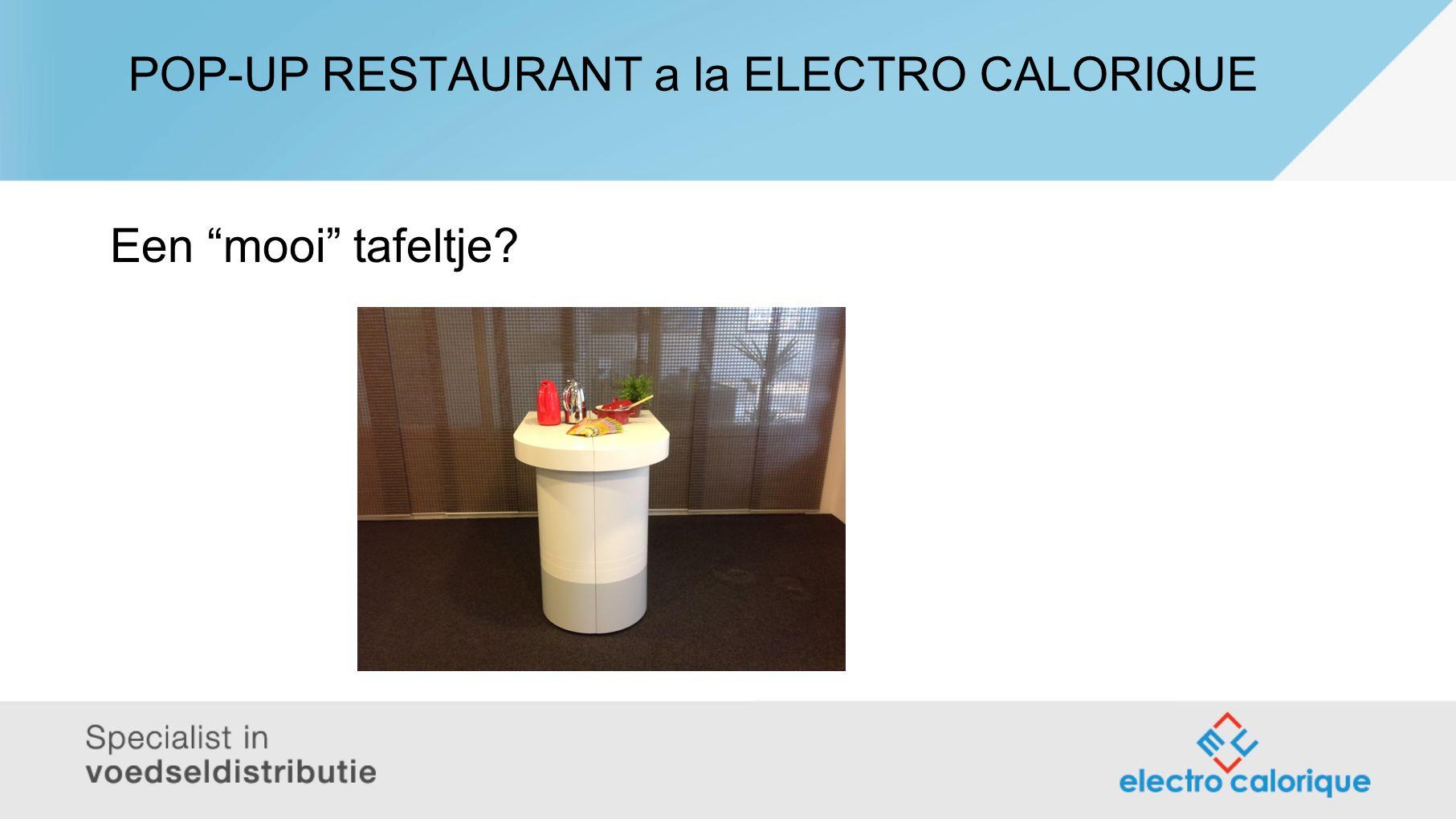 POP-UP RESTAURANT a la ELECTRO CALORIQUE Een mooi tafeltje?