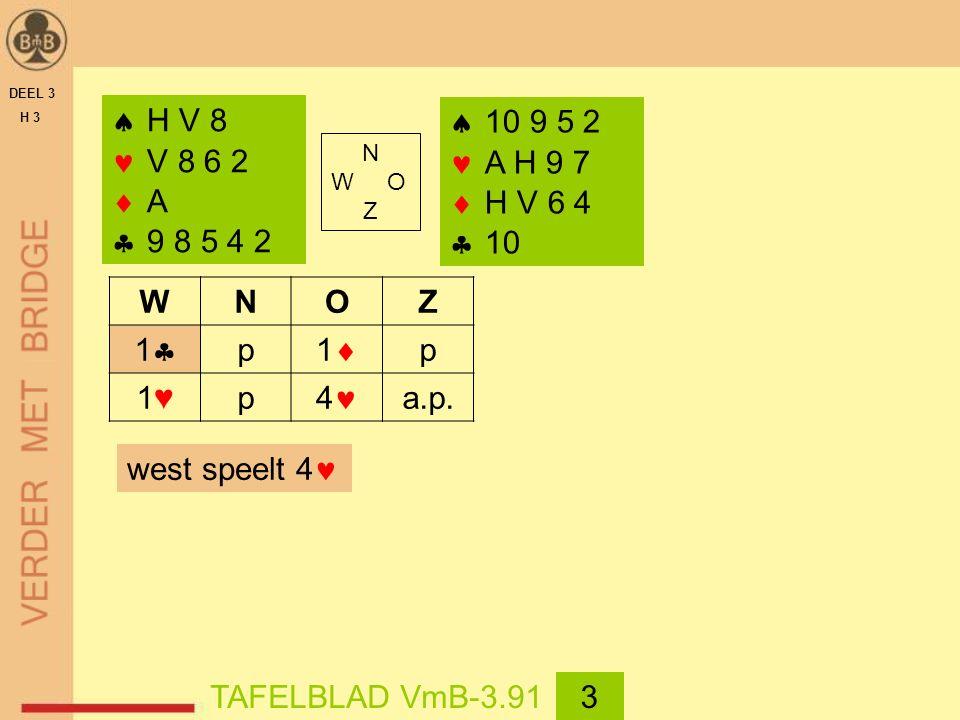 DEEL 3 H 3  H V 8 V 8 6 2  A  9 8 5 4 2 WNOZ 11 p 11 p 1♥1♥p 4 a.p.  10 9 5 2 A H 9 7  H V 6 4  10 west speelt 4 TAFELBLAD VmB-3.913 N W O Z