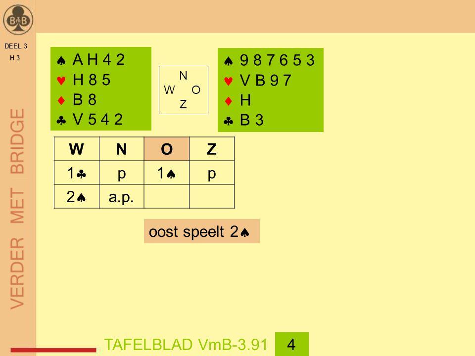DEEL 3 H 3  A H 4 2 H 8 5  B 8  V 5 4 2 WNOZ 11 p 11 p 22 a.p.  9 8 7 6 5 3 V B 9 7  H  B 3 oost speelt 2  TAFELBLAD VmB-3.914 N W O Z