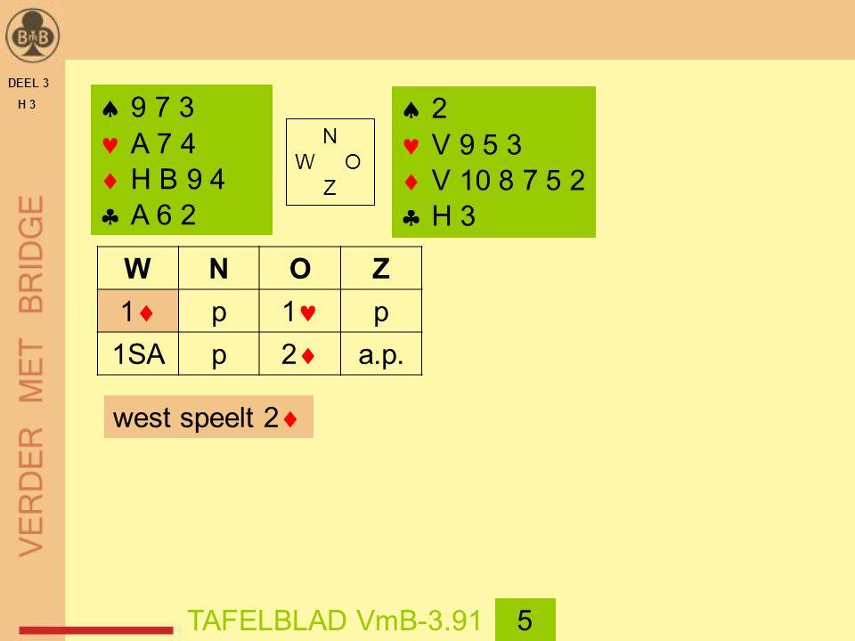 DEEL 3 H 3  9 7 3 A 7 4  H B 9 4  A 6 2 WNOZ 11 p 1 p 1SAp 22 a.p.  2 V 9 5 3  V 10 8 7 5 2  H 3 west speelt 2  TAFELBLAD VmB-3.915 N W O Z