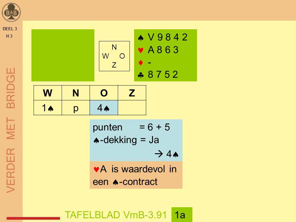 DEEL 3 H 3  V 9 8 4 2 A 8 6 3  -  8 7 5 2 TAFELBLAD VmB-3.911a WNOZ 11 p 44 punten = 6 + 5  -dekking = Ja  4  A is waardevol in een  -contract N W O Z
