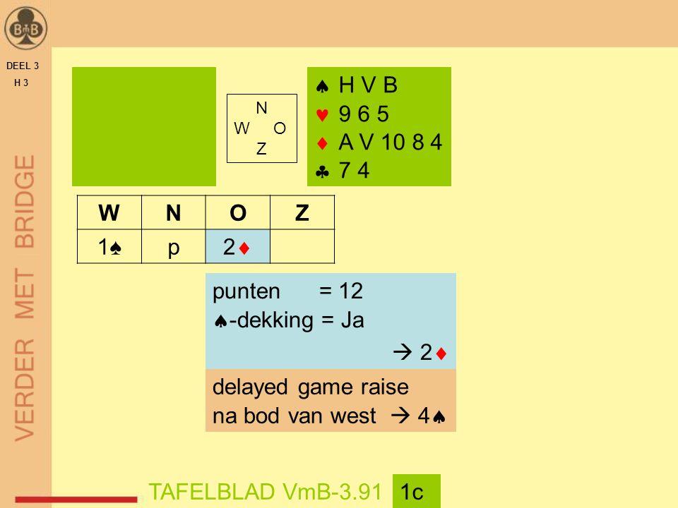DEEL 3 H 3  H V B 9 6 5  A V 10 8 4  7 4 TAFELBLAD VmB-3.911c WNOZ 1♠p 22 punten = 12  -dekking = Ja  2  delayed game raise na bod van west  4  N W O Z