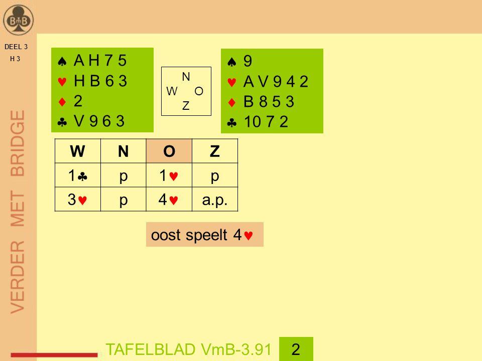 DEEL 3 H 3  A H 7 5 H B 6 3  2  V 9 6 3 WNOZ 11 p 1 p 3 p 4 a.p.  9 A V 9 4 2  B 8 5 3  10 7 2 oost speelt 4 TAFELBLAD VmB-3.912 N W O Z