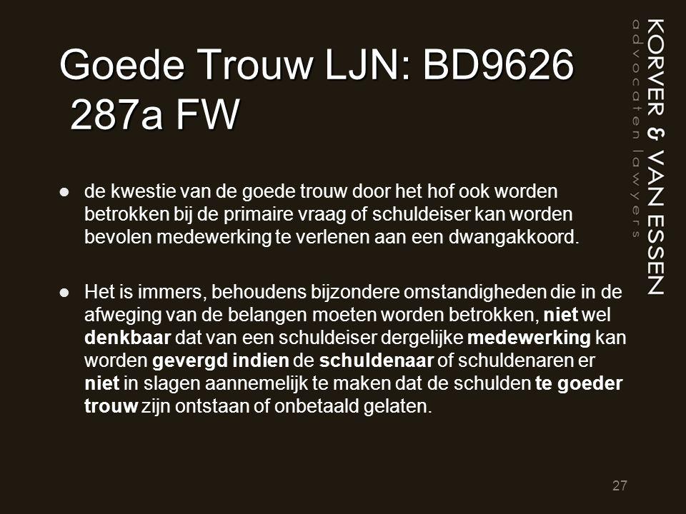 Goede Trouw LJN: BD9626 287a FW de kwestie van de goede trouw door het hof ook worden betrokken bij de primaire vraag of schuldeiser kan worden bevole
