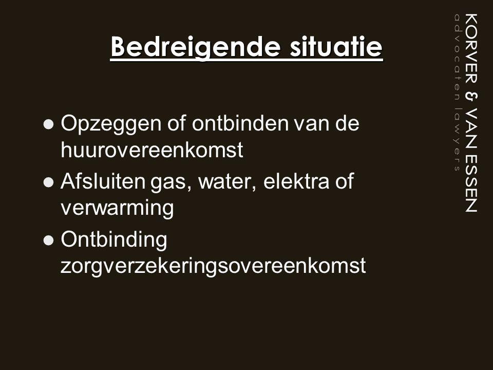 Bedreigende situatie Opzeggen of ontbinden van de huurovereenkomst Afsluiten gas, water, elektra of verwarming Ontbinding zorgverzekeringsovereenkomst