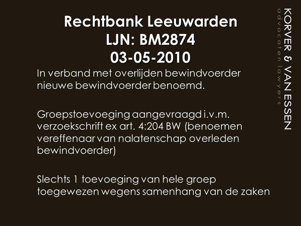 Rechtbank Leeuwarden LJN: BM2874 03-05-2010 In verband met overlijden bewindvoerder nieuwe bewindvoerder benoemd. Groepstoevoeging aangevraagd i.v.m.