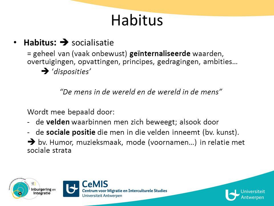 Holistisch perspectief aanhouden Rechtstreeks ingrijpen op habitus is moeilijk  Werken op velden en kapitalen; habitus (perspectief/perceptie actor) meenemen bij ontwerpen beleid/interventies – Habitus zal volgen (LT)  Op alle domeinen samen vooruitgang maken!