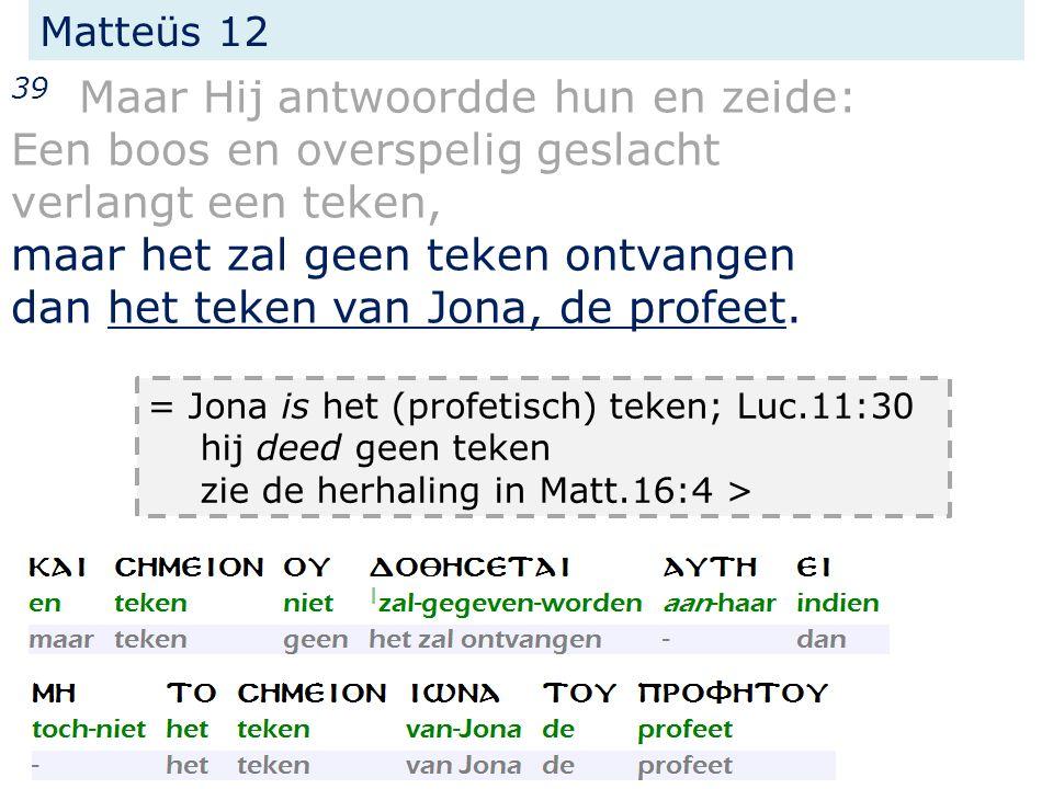 Matteüs 16 4 Een boos en overspelig geslacht verlangt een teken, en het zal geen teken ontvangen dan het teken van Jona.