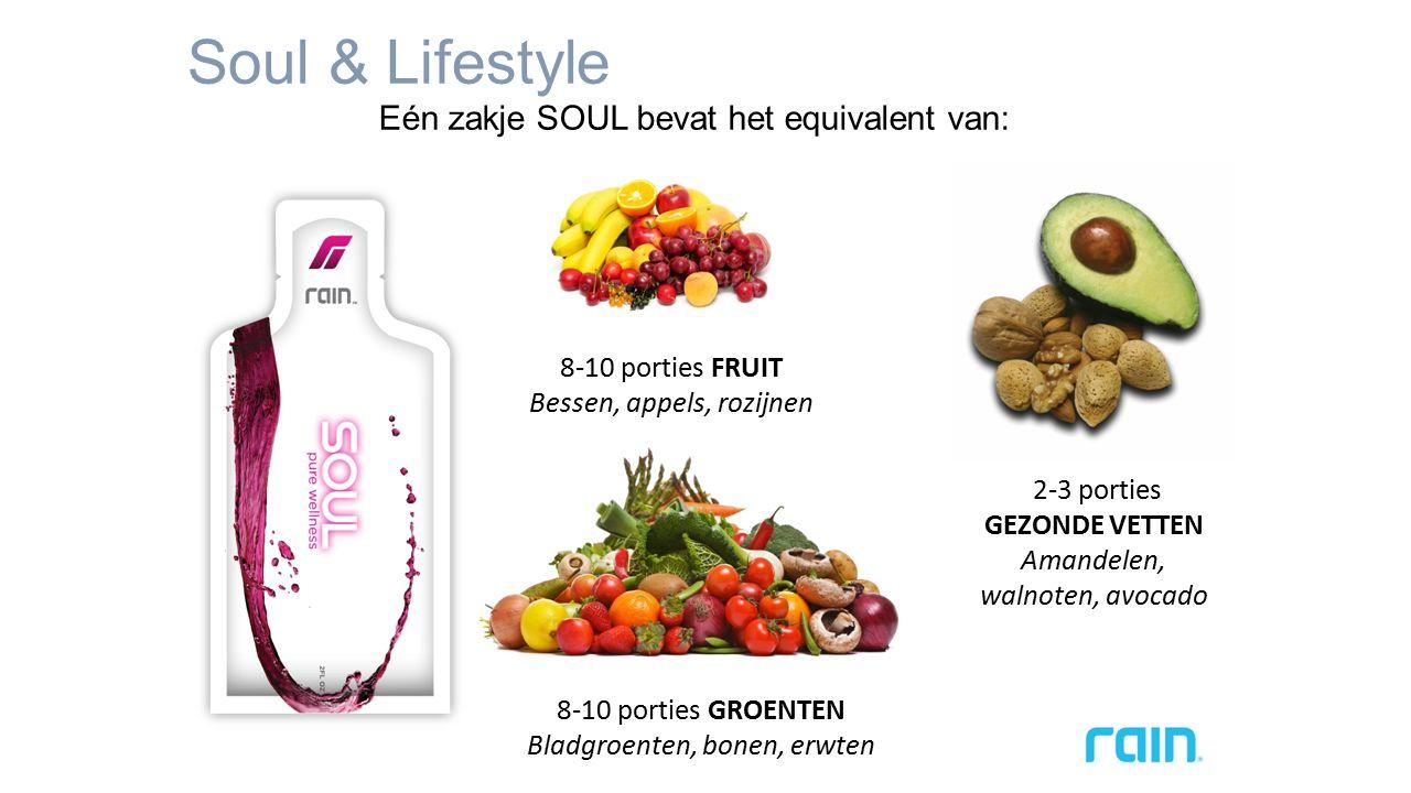 Soul & Lifestyle Eén zakje SOUL bevat het equivalent van: 8-10 porties FRUIT Bessen, appels, rozijnen 2-3 porties GEZONDE VETTEN Amandelen, walnoten, avocado 8-10 porties GROENTEN Bladgroenten, bonen, erwten