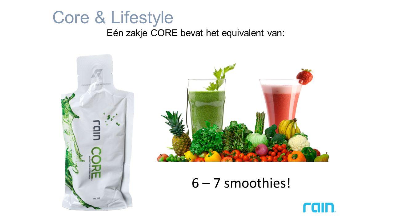 Core & Lifestyle Eén zakje CORE bevat het equivalent van: 6 – 7 smoothies!