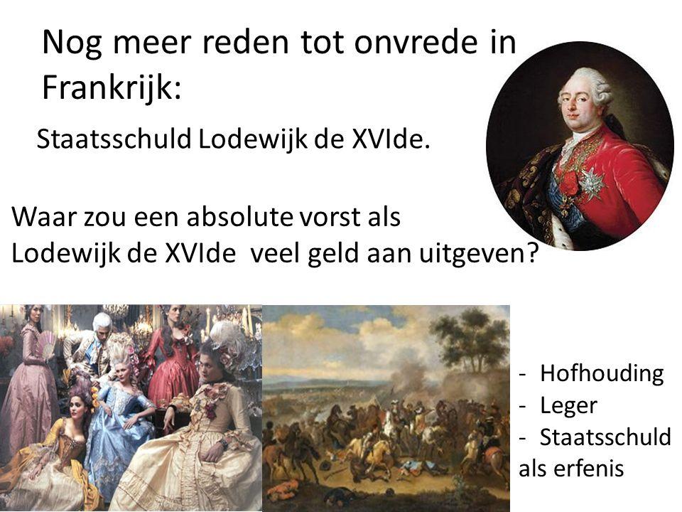 Nog meer reden tot onvrede in Frankrijk: Staatsschuld Lodewijk de XVIde. Waar zou een absolute vorst als Lodewijk de XVIde veel geld aan uitgeven? -Ho