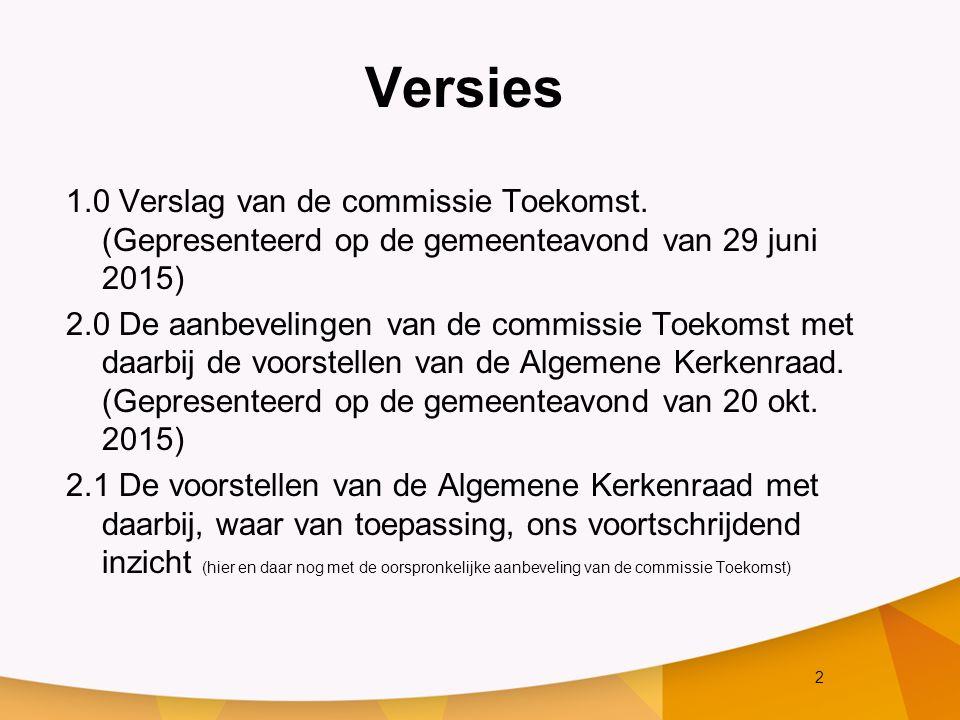 13 6.Organisatie 1/3 Aanbeveling van de commissie Toekomst: Kleine organisatie met korte lijnen.