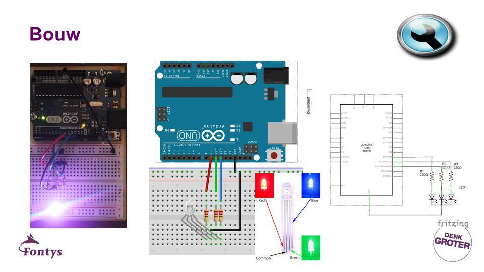 De software Zie bijgevoegd arduino project Les7_lichtfestijn Maak de opdrachten die in de code staan