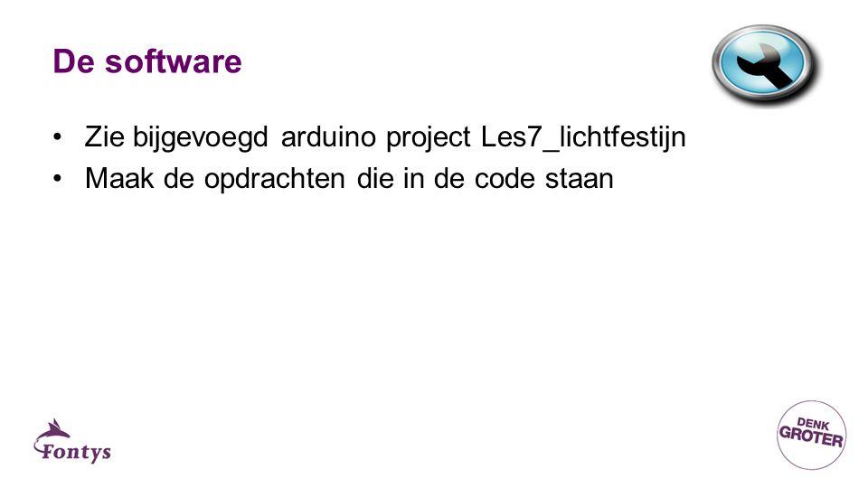 De software, main loop Zie bijgevoegd arduino project Les7_lichtfestijn