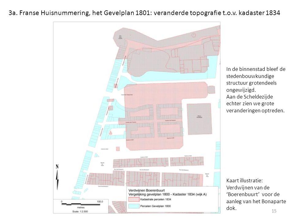 3a. Franse Huisnummering, het Gevelplan 1801: veranderde topografie t.o.v. kadaster 1834 15 Kaart illustratie: Verdwijnen van de 'Boerenbuurt' voor de