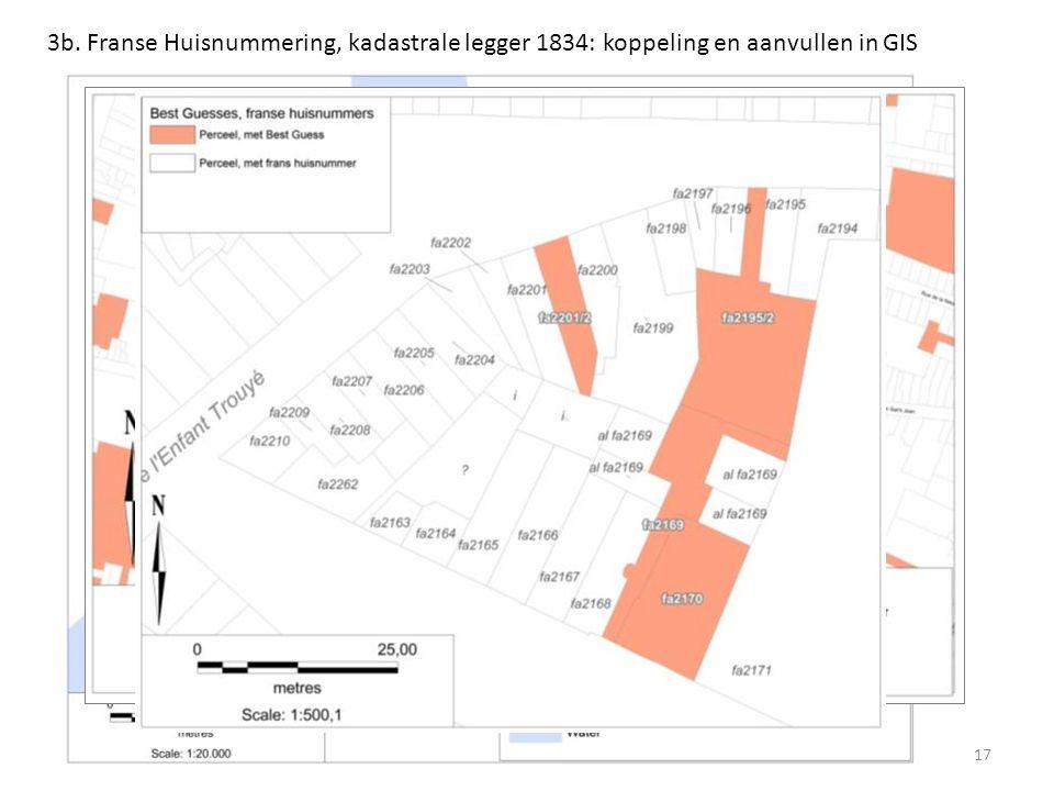 3b. Franse Huisnummering, kadastrale legger 1834: koppeling en aanvullen in GIS 17
