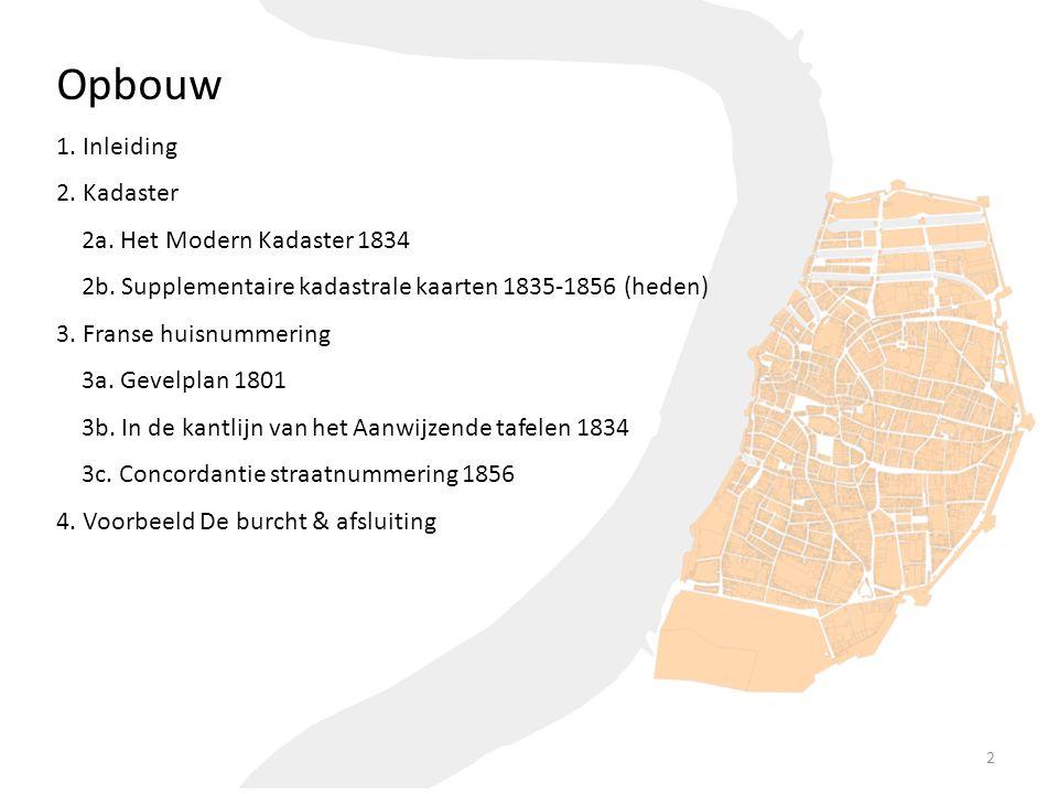 3. Franse huisnummering 2. Kadaster 2b. Supplementaire kadastrale kaarten 1835-1856 (heden) 4. Voorbeeld De burcht & afsluiting Opbouw 1. Inleiding 2a