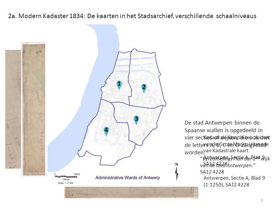"""Kadastrale situatie ten zuiden van de Grote Markt: Uitsnede van Kadastrale kaart Antwerpen, Sectie A, Blad 9 SA12 4228 """"Verzamelings Plan der 1 ste wi"""