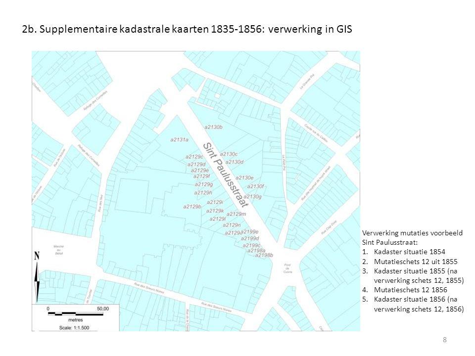 8 2b. Supplementaire kadastrale kaarten 1835-1856: verwerking in GIS Verwerking mutaties voorbeeld Sint Paulusstraat: 1.Kadaster situatie 1854 2.Mutat