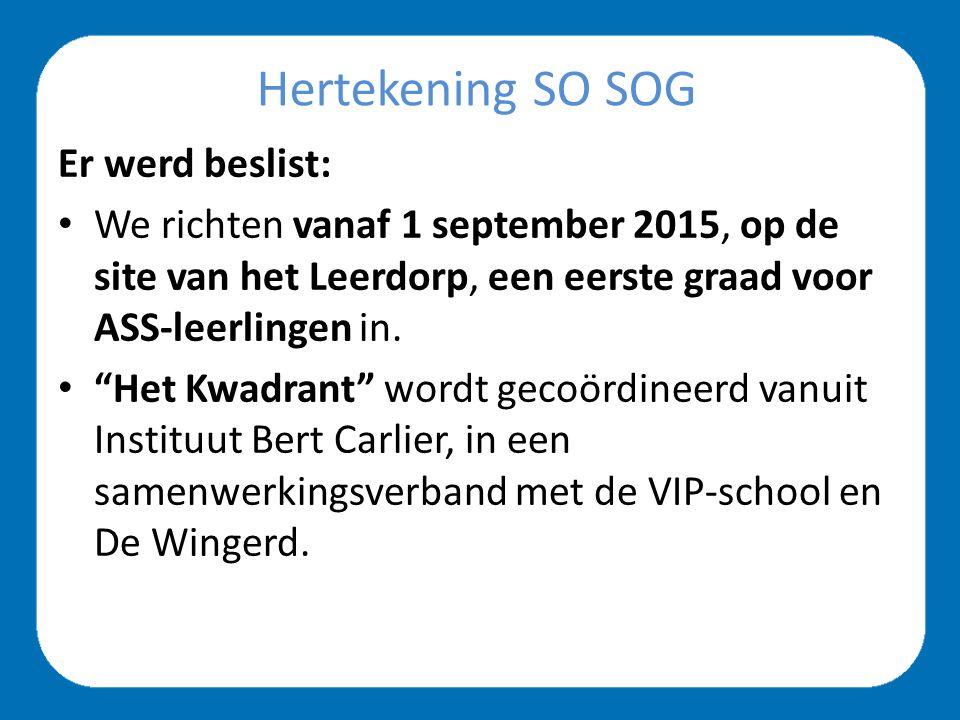 Hertekening SO SOG Er werd beslist: We richten vanaf 1 september 2016, op de site van het Leerdorp, de Freinetmiddenschool Gent (eerste graad A- en B-stroom) in waar we leerlingen van de van het stedelijk secundair onderwijs oriënteren.
