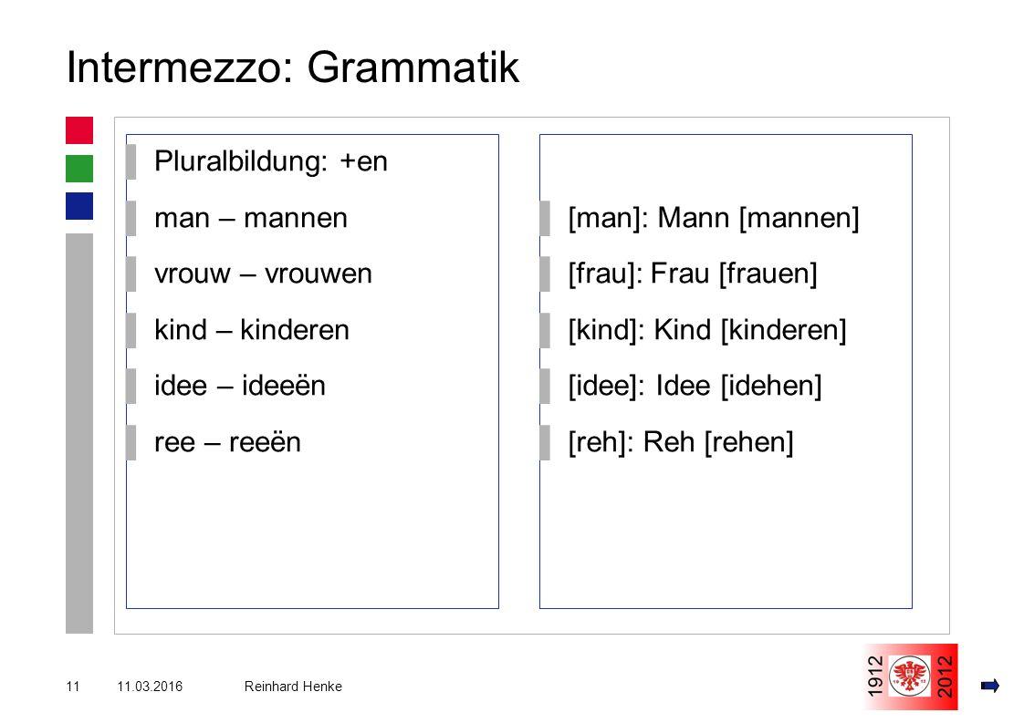 11.03.201611 Reinhard Henke Intermezzo: Grammatik ▌Pluralbildung: +en ▌man – mannen ▌vrouw – vrouwen ▌kind – kinderen ▌idee – ideeën ▌ree – reeën ▌[man]: Mann [mannen] ▌[frau]: Frau [frauen] ▌[kind]: Kind [kinderen] ▌[idee]: Idee [idehen] ▌[reh]: Reh [rehen]