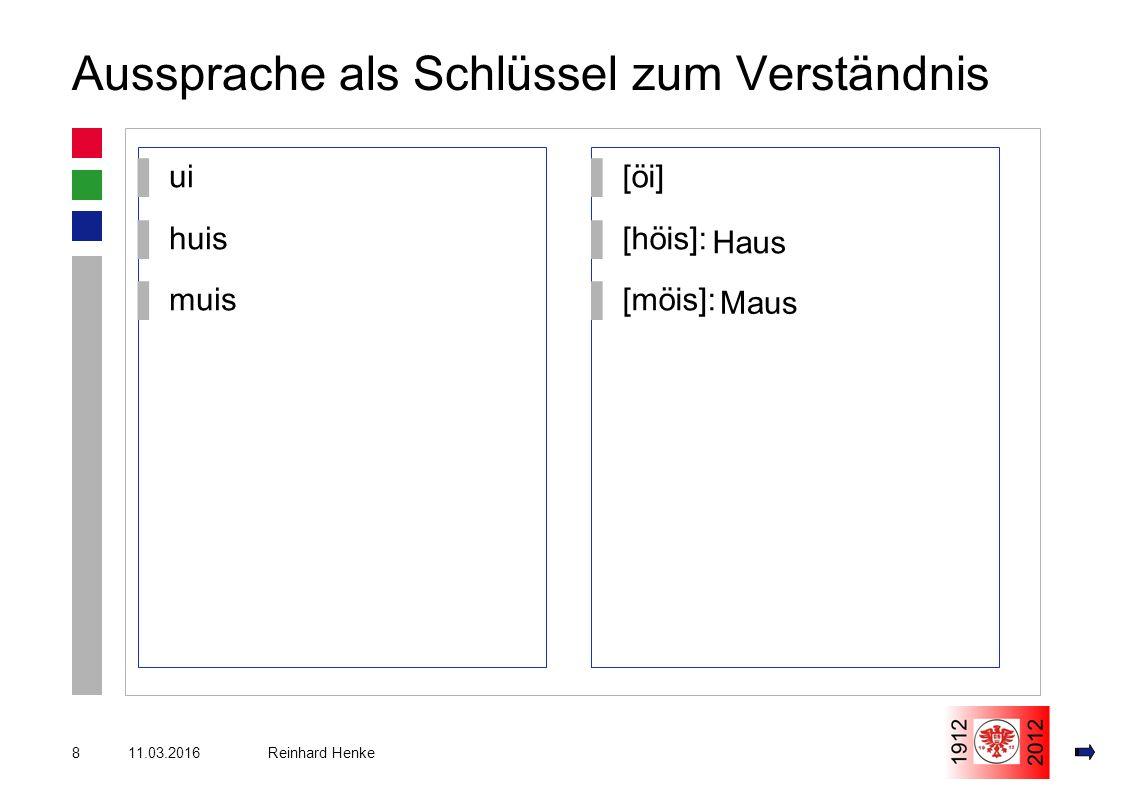 11.03.20168 Reinhard Henke Aussprache als Schlüssel zum Verständnis ▌ui ▌huis ▌muis ▌[öi] ▌[höis]: ▌[möis]: Haus Maus